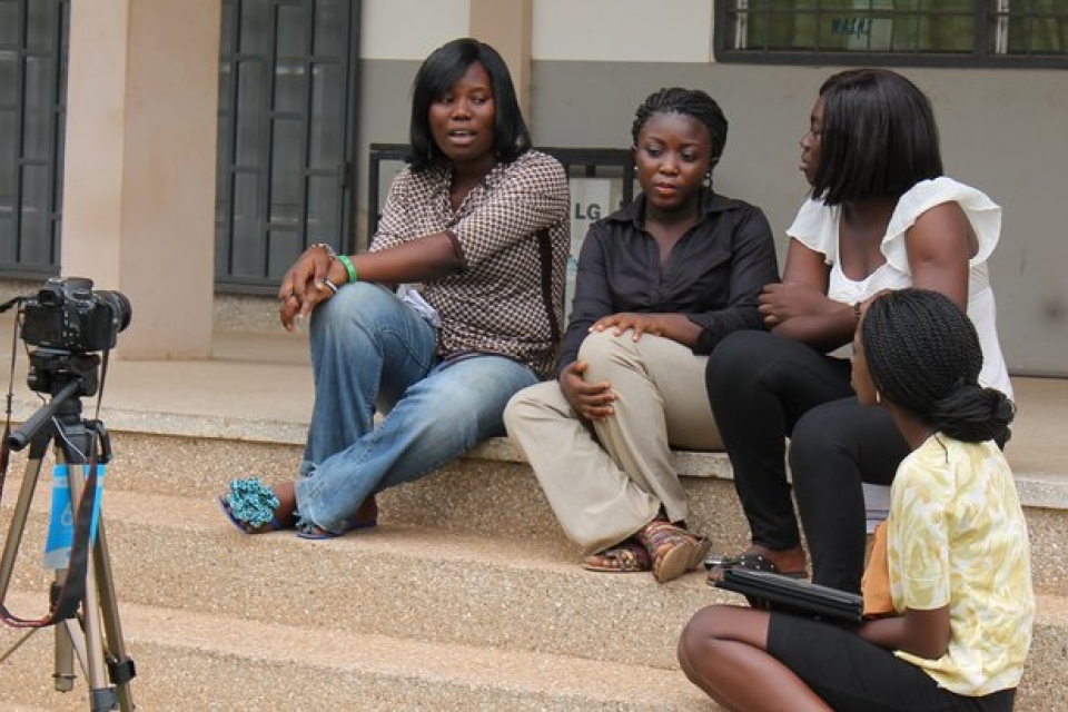 Sally Nuamah interviewing secondary school students in Ghana for the documentary HerStory: Girls & Education in Ghana.