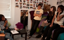 Prospective students discuss college life with current students in 2011.