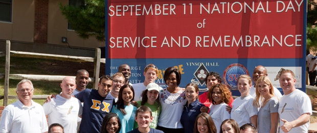 Photo of students serving with First Lady Michelle Obama on September 11 National Day of Service